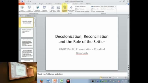 Thumbnail for entry Rosalind Barabash - Decolonization, Reconciliation and the Responsibilities of the Settler