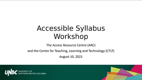 Thumbnail for entry Accessible Syllabus Workshop - August 10 2021