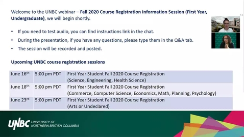 Thumbnail for entry UNBC 2020 New Student Course Registration Information Session – June 10th, 2020