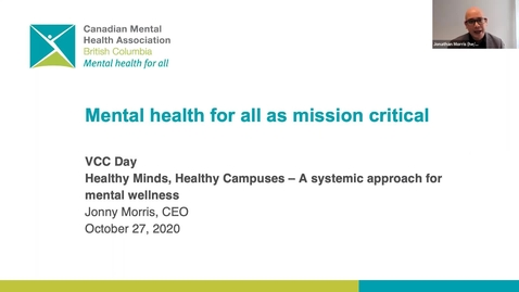 Thumbnail for entry Healthy Minds, Healthy Campuses - VCC Day 2020